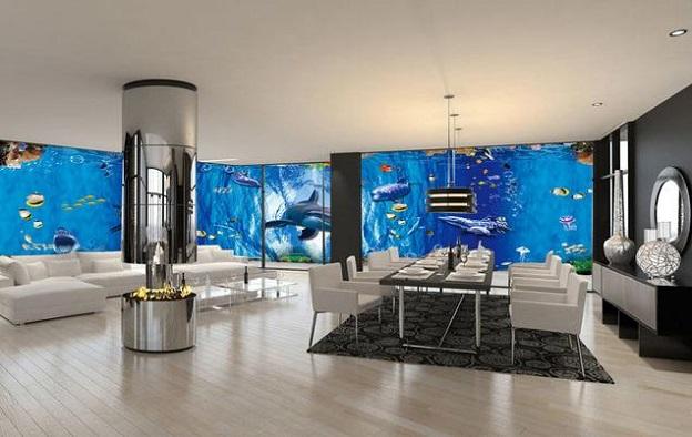 Nhận in gia công trên các loại tấm dán tường, ốp sàn, lót nền nhà các loại gạch men 3d gạch nền tranh ảnh đẹp phòng khách đại dương thủy cung