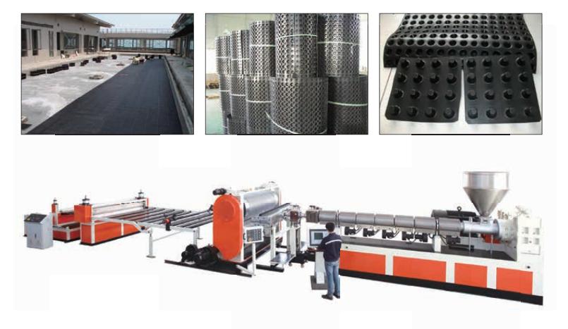 Máy sản xuất tấm nhựa thoát - tích trữ nước-vỉ nhựa miếng nhựa rút thu nước ngầm